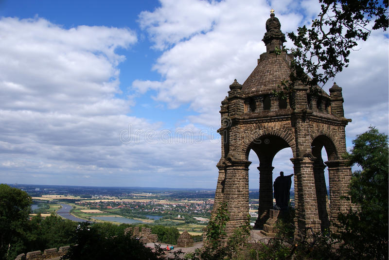 View from Kaiser Wilhelm Denkmal. Portawestfalica Germany royalty free stock image