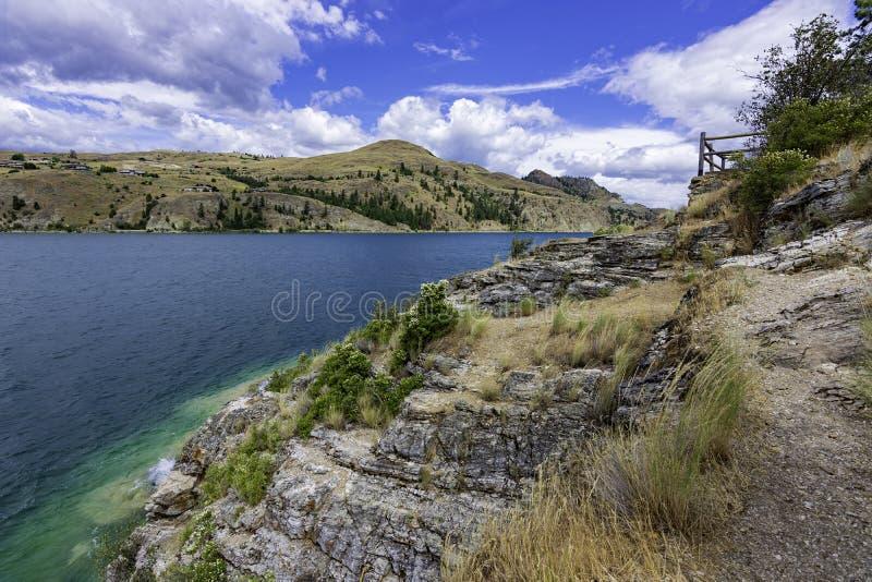 View of Kalamalka Lake from Kalamalka Lake Provinial Park near Vernon British Columbia Canada. On a summer day stock photo