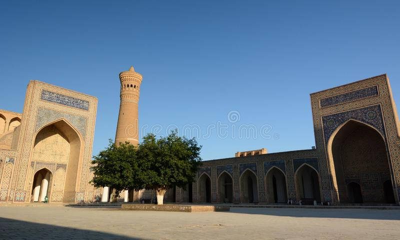 View of Kalan mosque and Kalyan minaret. Po-i-Kalyan complex. Bukhara. Uzbekistan. Bukhara is a city in Uzbekistan, located on the ancient Silk Road, rich in stock photo