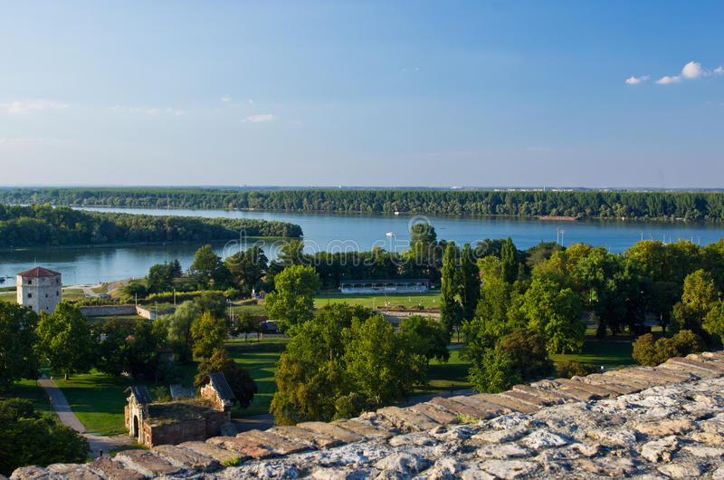View from Kalemegdan fortress to confluence of Danube and Sava river, Belgrade royalty free stock photography