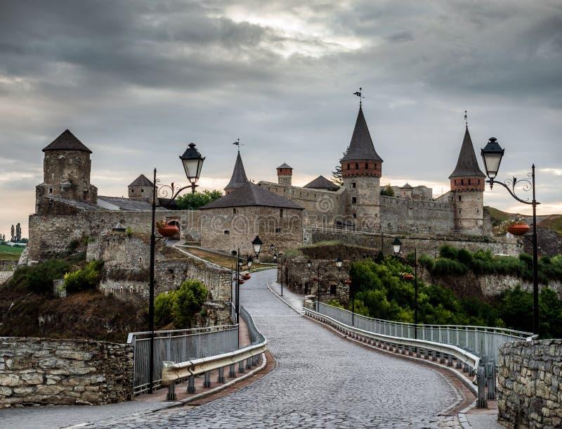 View on Kamenetz-Podolsky fortress. At sunset, Ukraine royalty free stock images