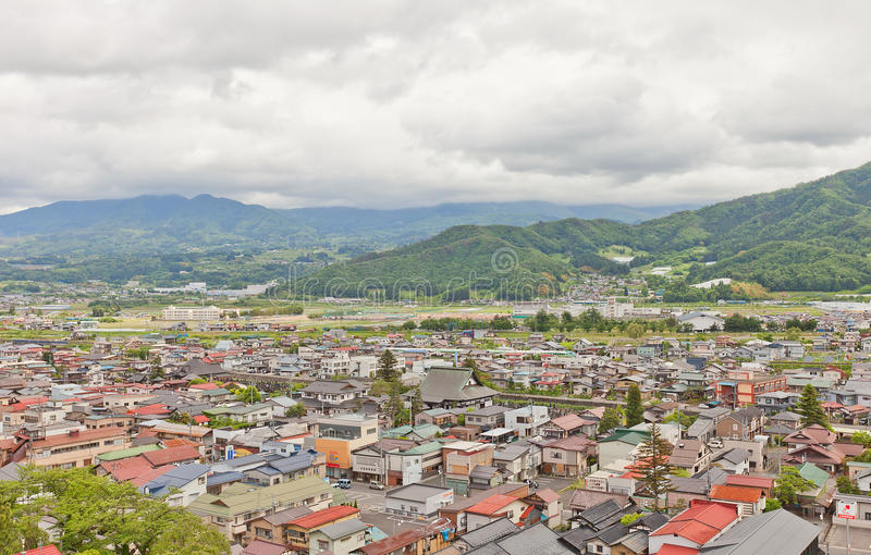 View of Kaminoyama city from Kaminoyama Castle, Japan. View of Kaminoyama City from donjon of Kaminoyama Castle. Modern town of Kaminoyama was established in royalty free stock image