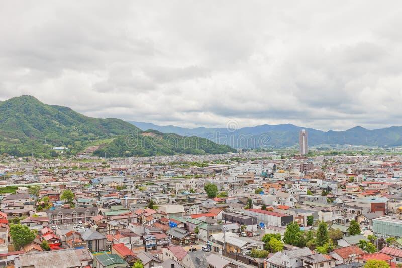 View of Kaminoyama city from Kaminoyama Castle, Japan stock photography