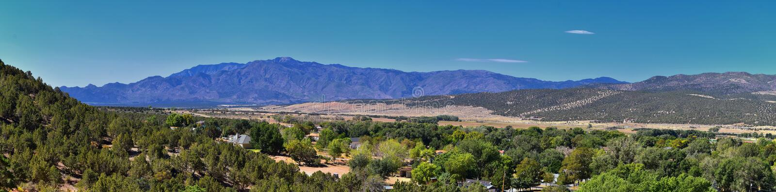 View of Kanarraville valley and mountain range from hiking trail to Waterfalls in Kanarra Creek Canyon by Zion National Park, Utah royalty free stock photos