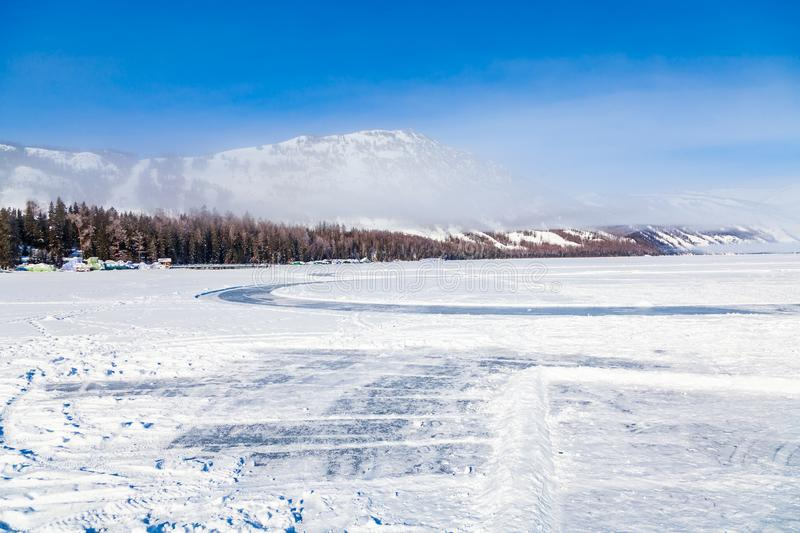view of Kanas Lake Forest in Winter,xinjiang,china stock photography
