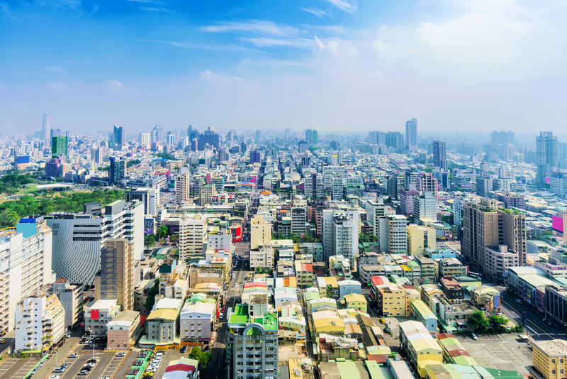 View of Kaohsiung downtown area. High view of Kaohsiung downtown area royalty free stock photo
