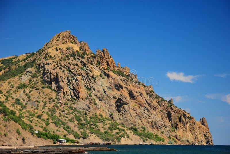 View of the Kara-dag mountain range stock photography