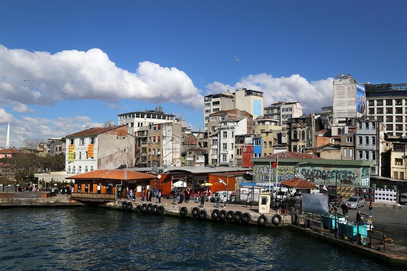 View of the Karaköy Pier from the Galata Bridge royalty free stock images