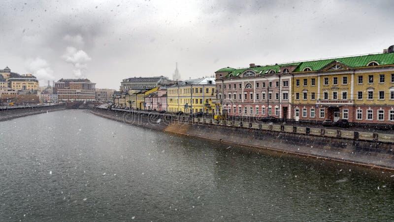 View of the Kardashovskuju embankment with the bridge luzhkov stock photo