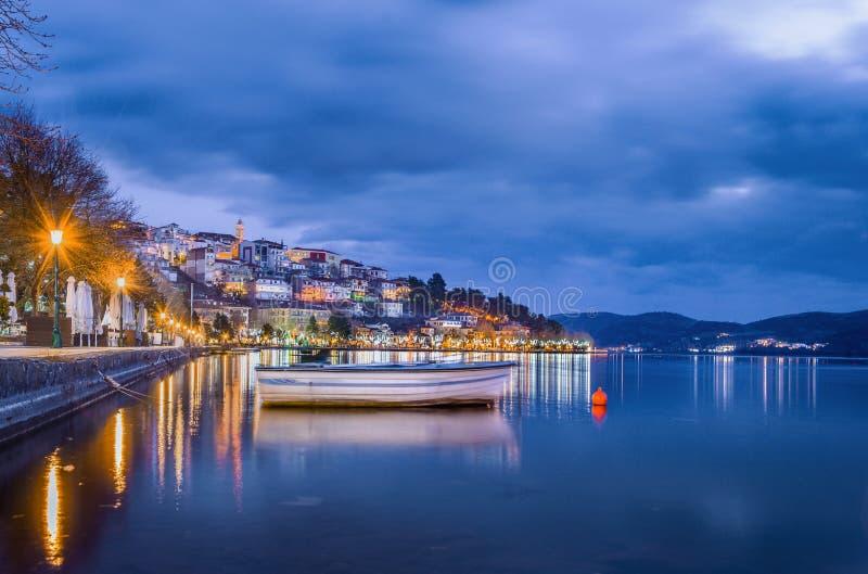 View of Kastoria town and Orestiada or `Orestias` lake, Macedonia, Greece.  stock photos