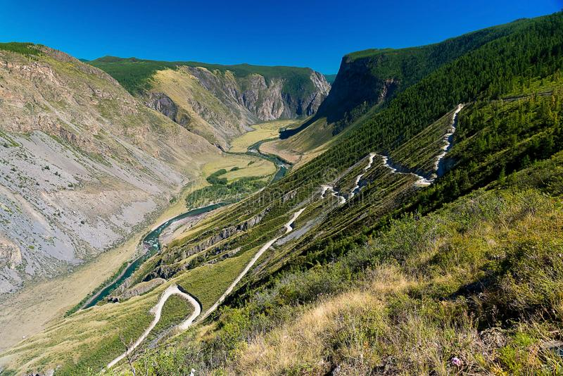 View of the Katu-Yaryk Pass, Chulyshman River Valley, Altai Republic, Russia royalty free stock photography