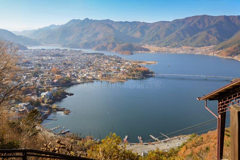 Aerial View of Kawaguchi lake and village royalty free stock image