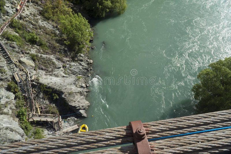View from Kawarau bridge to river. New Zealand. View from Kawarau bridge to Kawarau river at point of bungy drop. New Zealand royalty free stock image