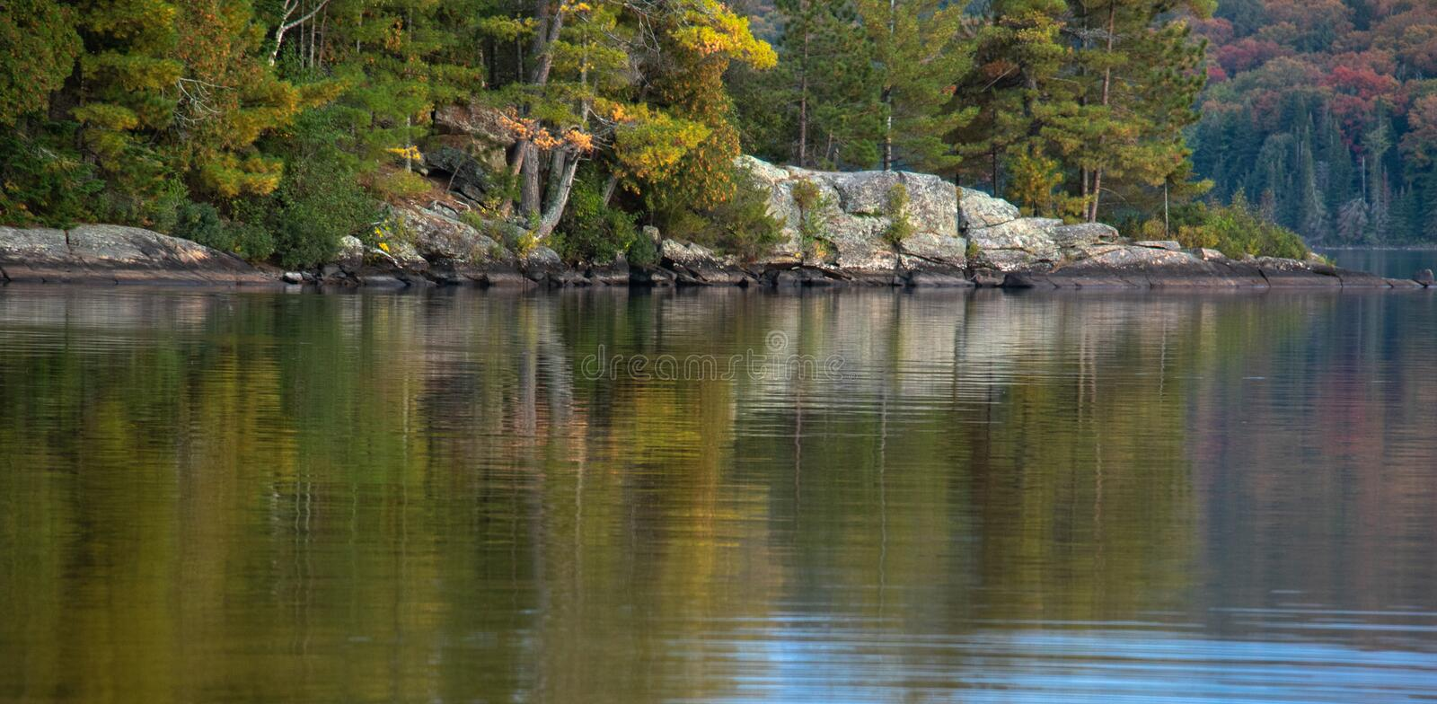 Colourful Vegetation on Canadian Shield in Autumn in Algonquin. View from a kayak of Autumn colors beginning to appear in a forest on a rocky shore and stock photos