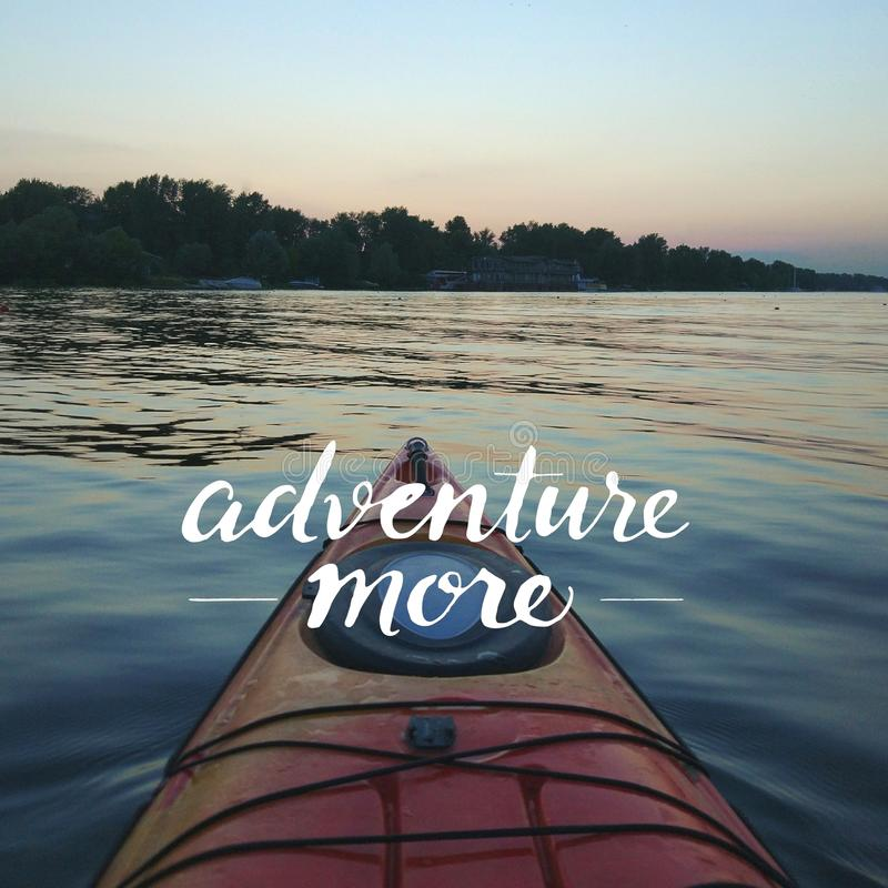 View from a Kayak on a calm day. Active lifestyle concept. Travel quote royalty free stock photos
