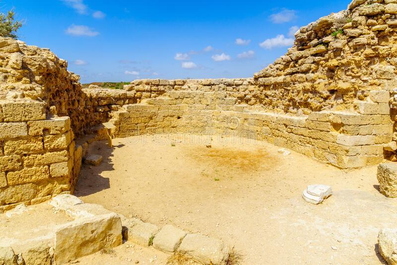 Keep of the crusader fortress, in Apollonia royalty free stock photos