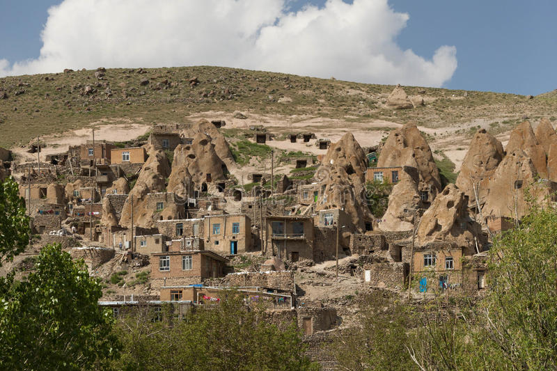 View of Kendovan, Iran. The troglodyte village of Kendovan, Iran royalty free stock photo