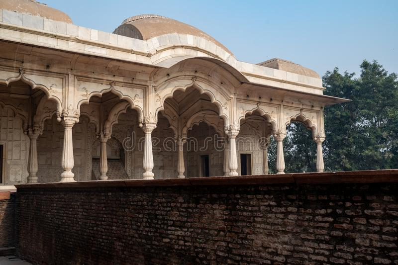 View of Khas Mahal inside the Red Fort,  served as the Mughal emperor`s private residence in Delhi India. View of Khas Mahal inside the Red Fort, served as the royalty free stock photos