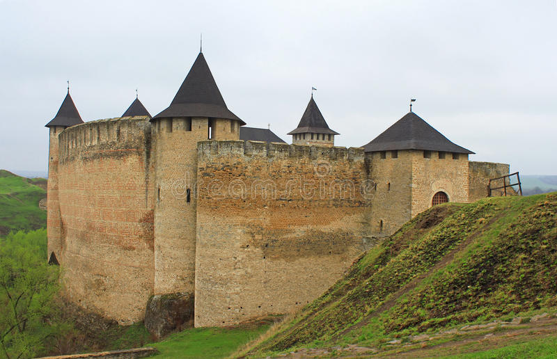 View of Khotyn fortress, Western Ukraine royalty free stock photography