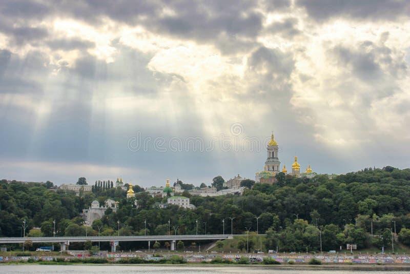 View of Kiev Pechersk Lavra and Dnepr river. Kiev, Ukraine royalty free stock photos