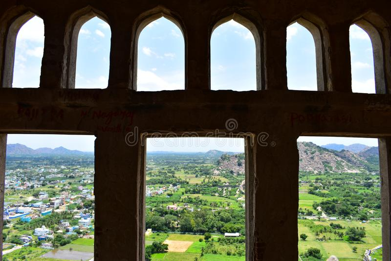 View of King Fort from Queen fort. Gingee Fort or Senji Fort in Tamil Nadu, India is one of the surviving forts in Tamil Nadu, India. It lies in Villupuram royalty free stock images