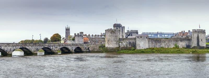 View of King John`s Castle, Limerick, Ireland. Panoramic view of King John`s Castle and bridge from Shannon river, Limerick, Ireland stock photos