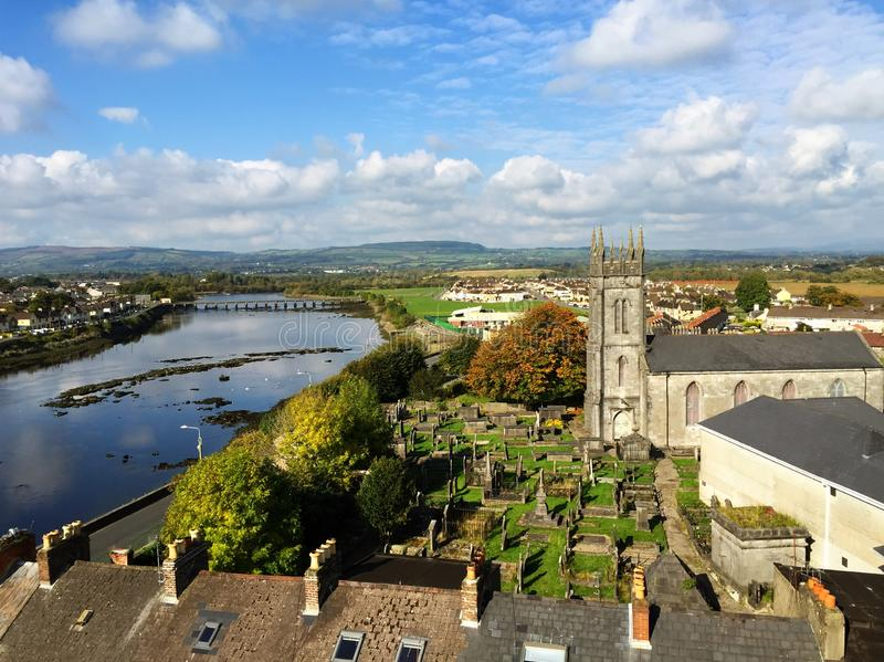 King John`s Castle Limerick Ireland. View from King John`s Castle. A 13th-century castle located on King`s Island in Limerick, Ireland, next to the River Shannon stock images
