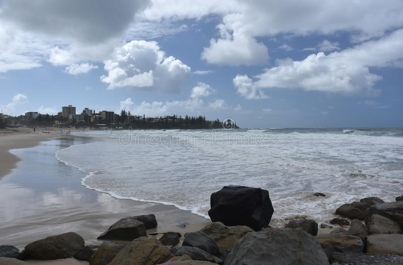 View of Kings beach on a cloudy stormy day. Caloundra, Sunshine Coast, Queensland, Australia royalty free stock photography