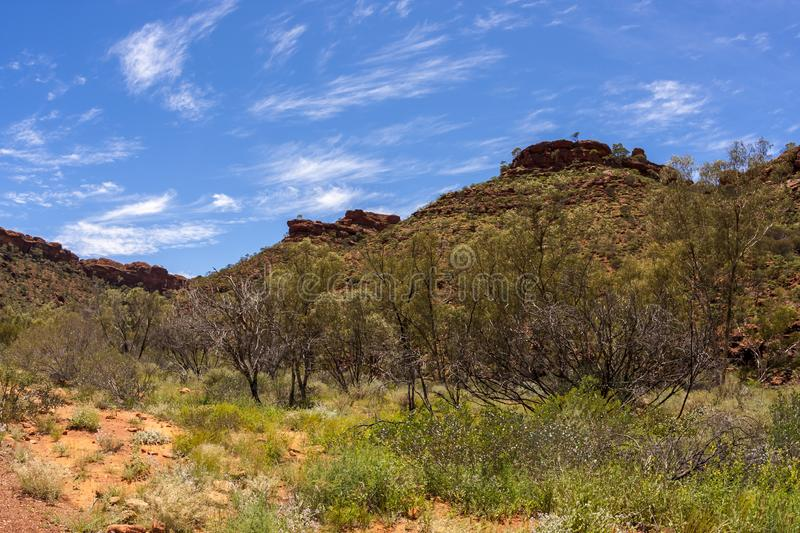 View of Kings Canyon, Northern Territory, Watarrka National Park, Australia. Mountain landscape stock photography