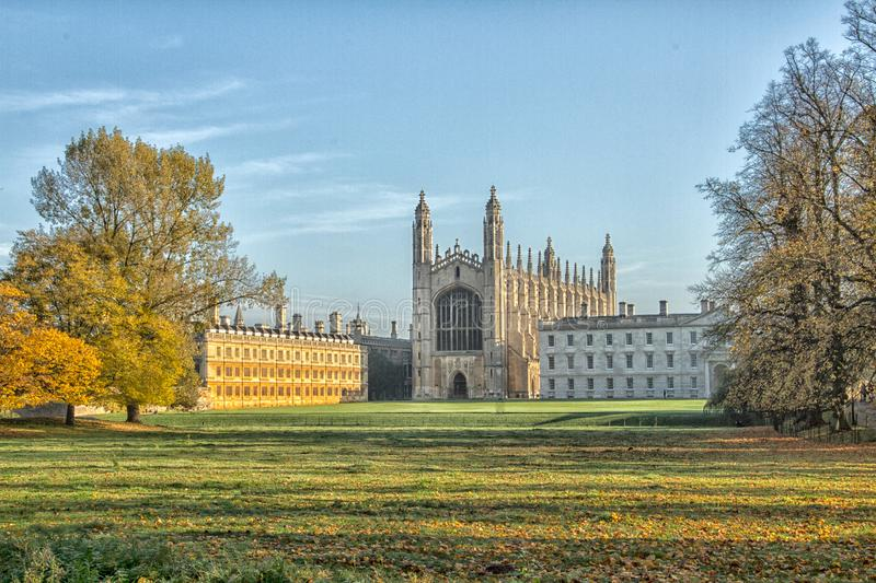 "The glorious Kings College Chapel in Cambridge. View of Kings Chapel from the north taken from ""The Backs"". Famous and iconic view of `The Chapel royalty free stock photo"