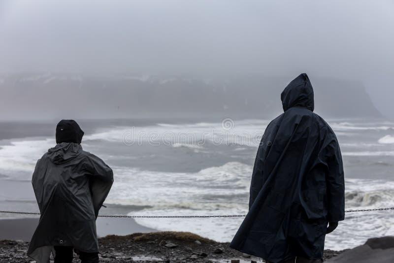 View on Kirkjufjara beach, Iceland. Kirkjufjara beach and Arnardrangur cliff. Popular tourist attraction. Dramatic scene. Location place Sudurland, cape royalty free stock image