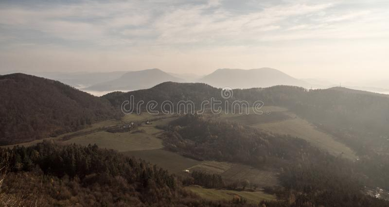 View from Klapy hill in autumn Javorniky mountains in Slovakia. View from Klapy hill above Vah river near Povazska Bystrica city in Javorniky mountains in royalty free stock images
