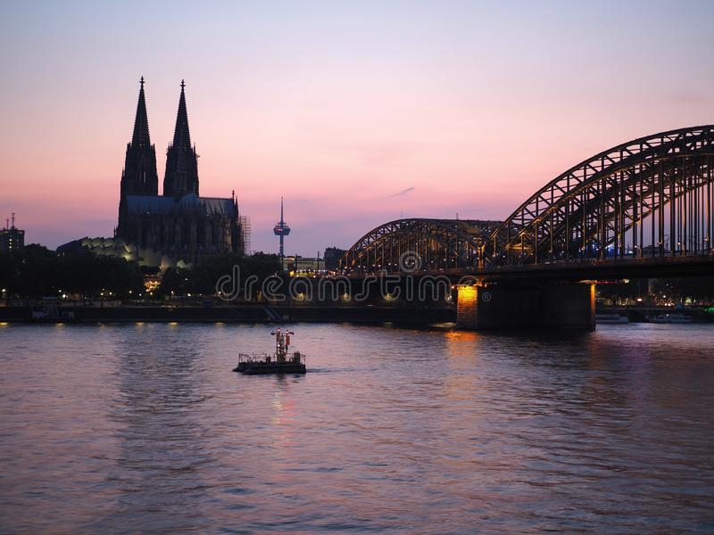 View of Koeln. View of the city in Koeln, Germany From The River At Night stock photography