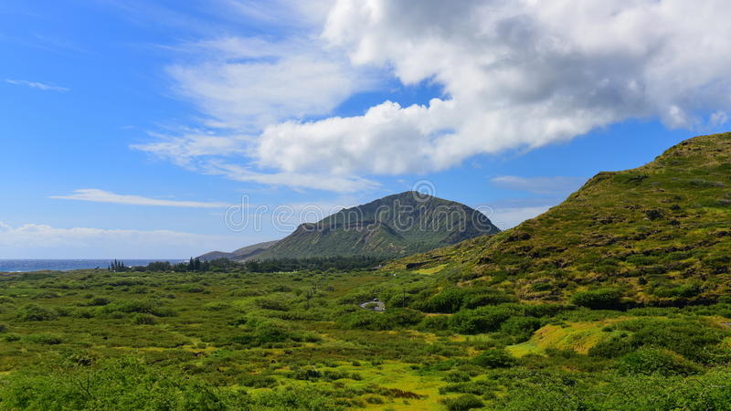 View of Koko Crater. From Makapuu Point Lighthouse Trail, Oahu, Hawaii royalty free stock photo