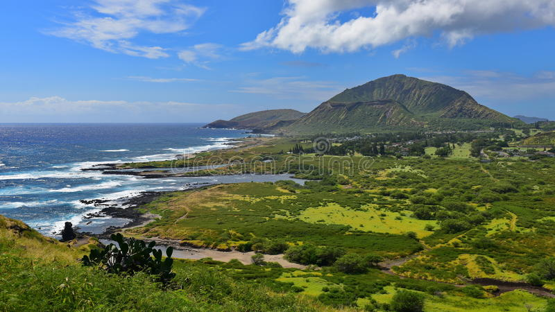 View of Koko Crater from Makapuu Point Lighthouse Trail. Oahu, Hawaii royalty free stock photos