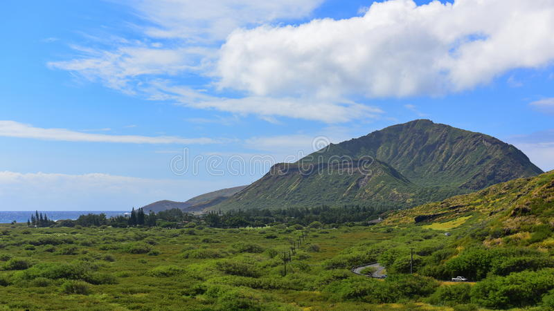 View of Koko Crater. From Makapuu Point Lighthouse Trail, Oahu, Hawaii royalty free stock image