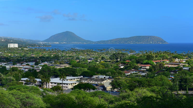 View of Koko Crater and Sandy Beach. From Diamond Head Trail in Oahu, Hawaii stock photography