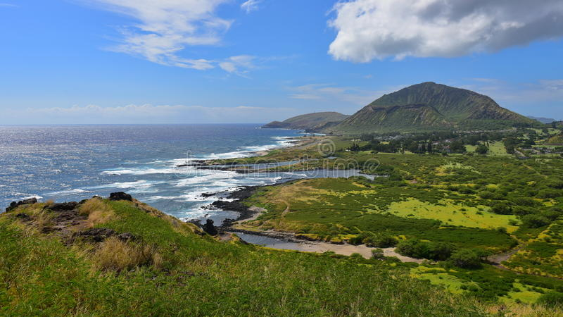 View of Koko Crater and Sandy Beach Park. From Makapuu Point Lighthouse Trail, Oahu, Hawaii stock images