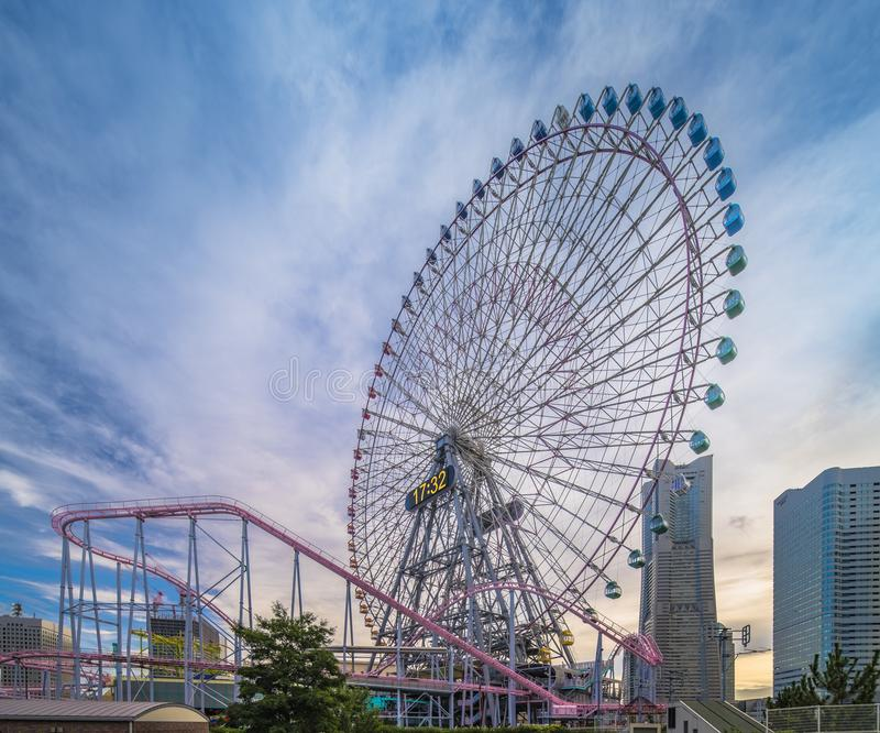 View from Kokusai bridge of Cosmo Clock 21 Big Wheel at Cosmo World Theme Park, overlooking the Diving Coaster Vanish in. The Minato Mirai district of Yokohama royalty free stock images