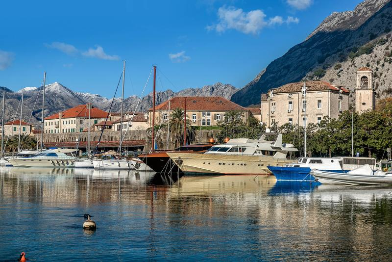 View of Kotor Port near the old Town of Kotor, Montenegro royalty free stock images