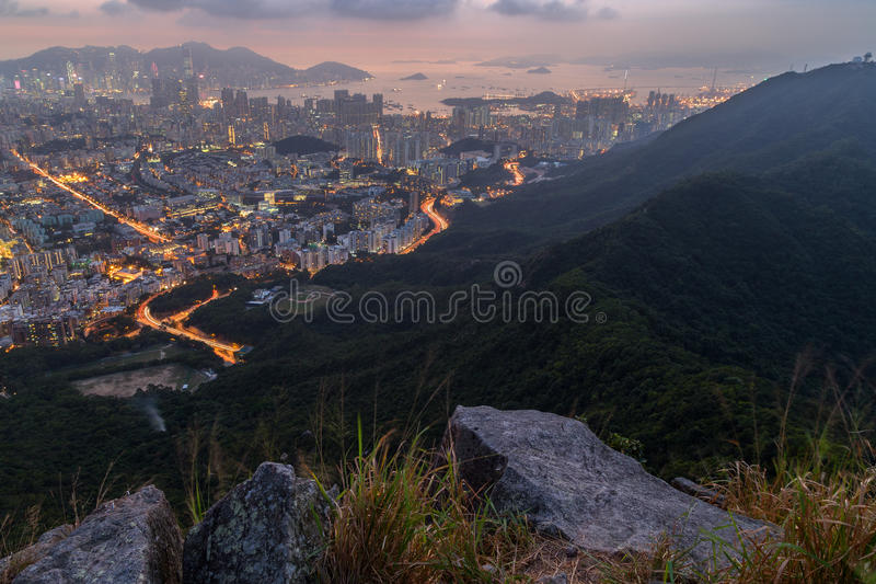 View of Kowloon and Lion Rock Country Park in Hong Kong stock images