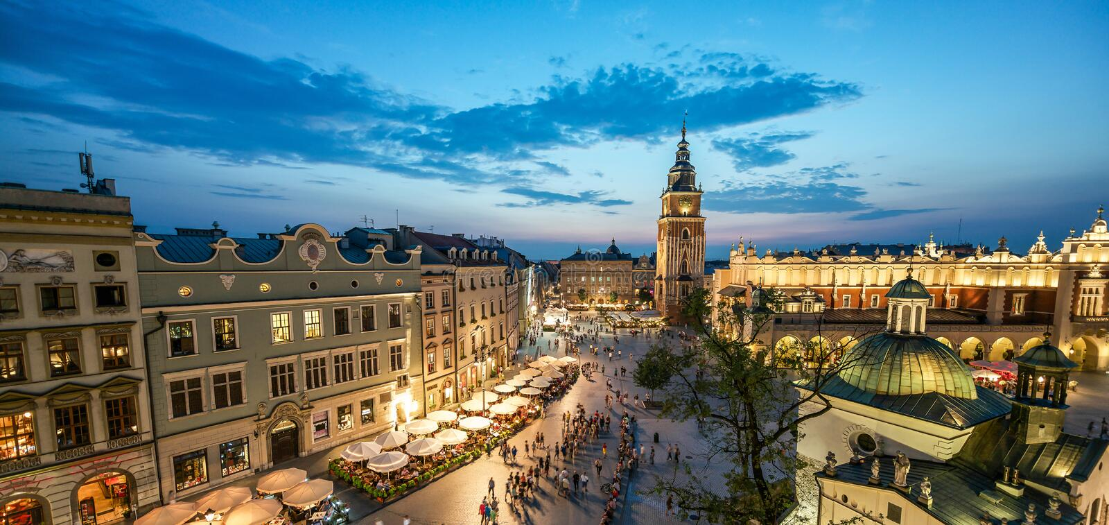 View of Krakow, Poland at sunset stock images