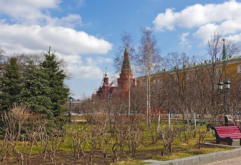 View of the Kremlin from Alexander Garden. View of the Kremlin from Alexander Garden in spring royalty free stock photo