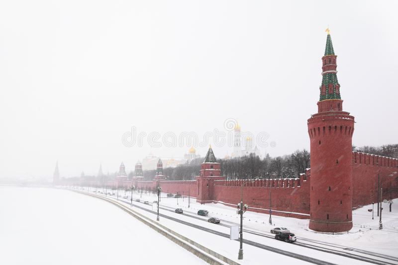 View Of The Kremlin Embankment And Cathedrals Royalty Free Stock Image