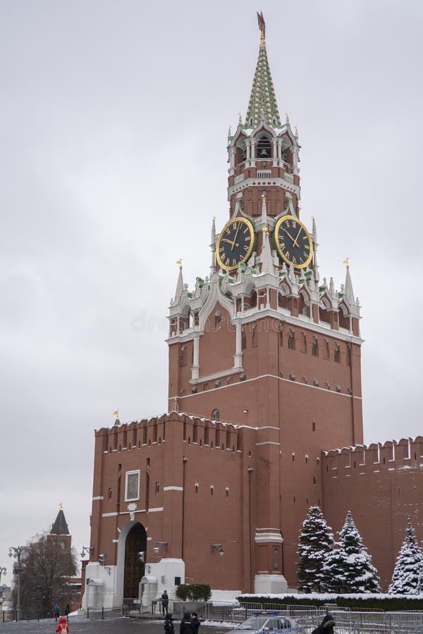 View of Kremlin and Lenin Mausoleumin winter stock images