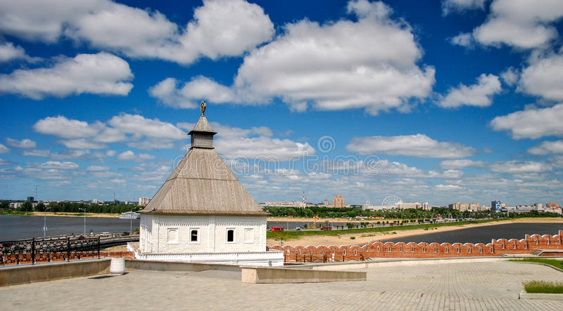 View of the Kremlin towers and the city of Kazan, Russia. View of the Kremlin towers and the city of Kazan royalty free stock image