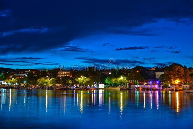 Krk city night view royalty free stock photos