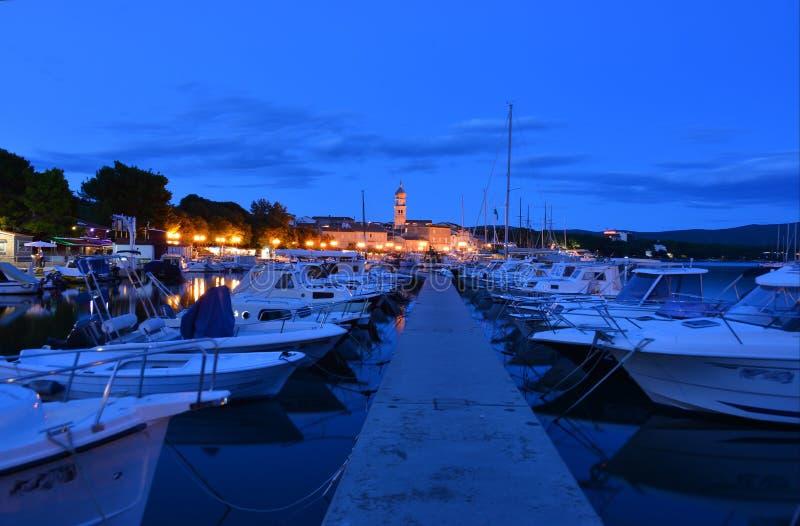 Krk city night view stock photos