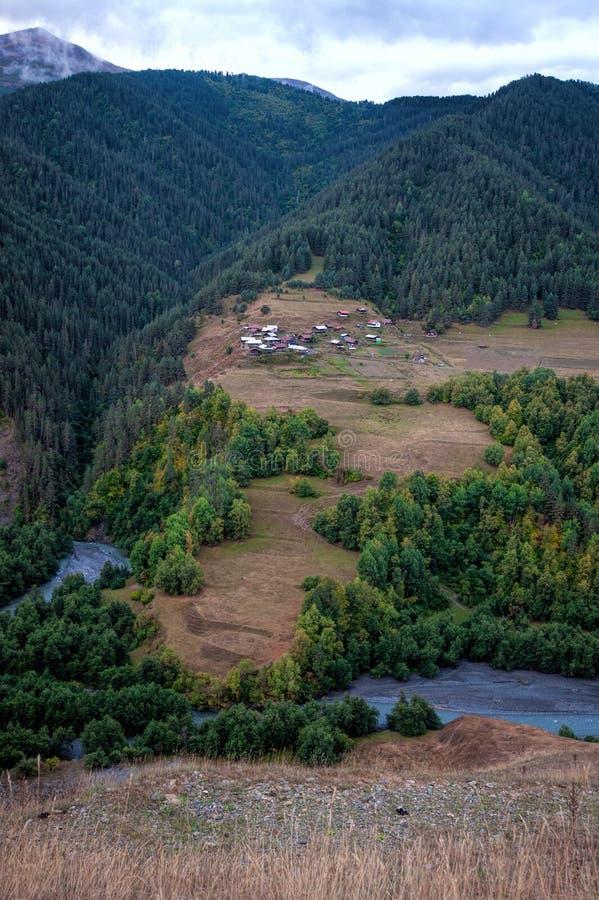 View of the Kumelaurta village, standing separately in Tusheti, Georgia, near Omalo village. stock photos
