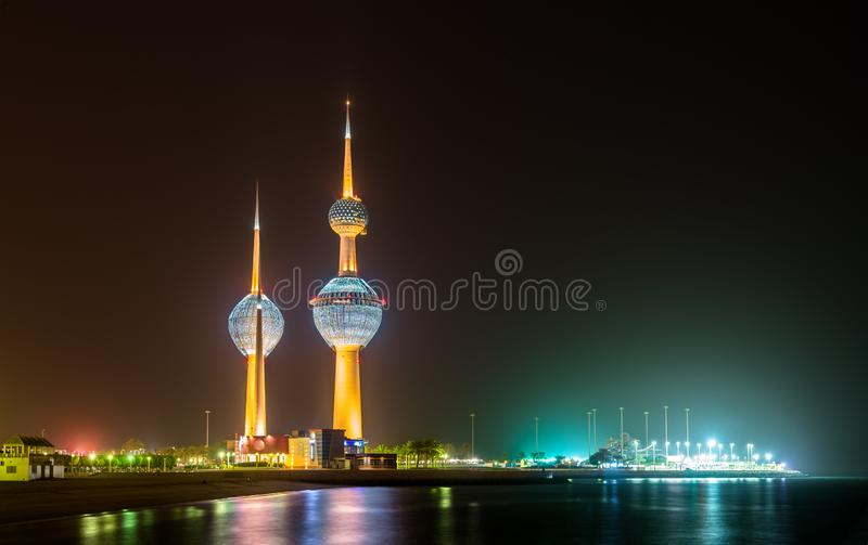 View of the Kuwait Towers at night royalty free stock images